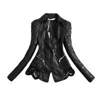 New Lady Autumn Fashion Jacket Lace Patchwork Slim Women Jacket Pu Leather V Neck Short Outwear