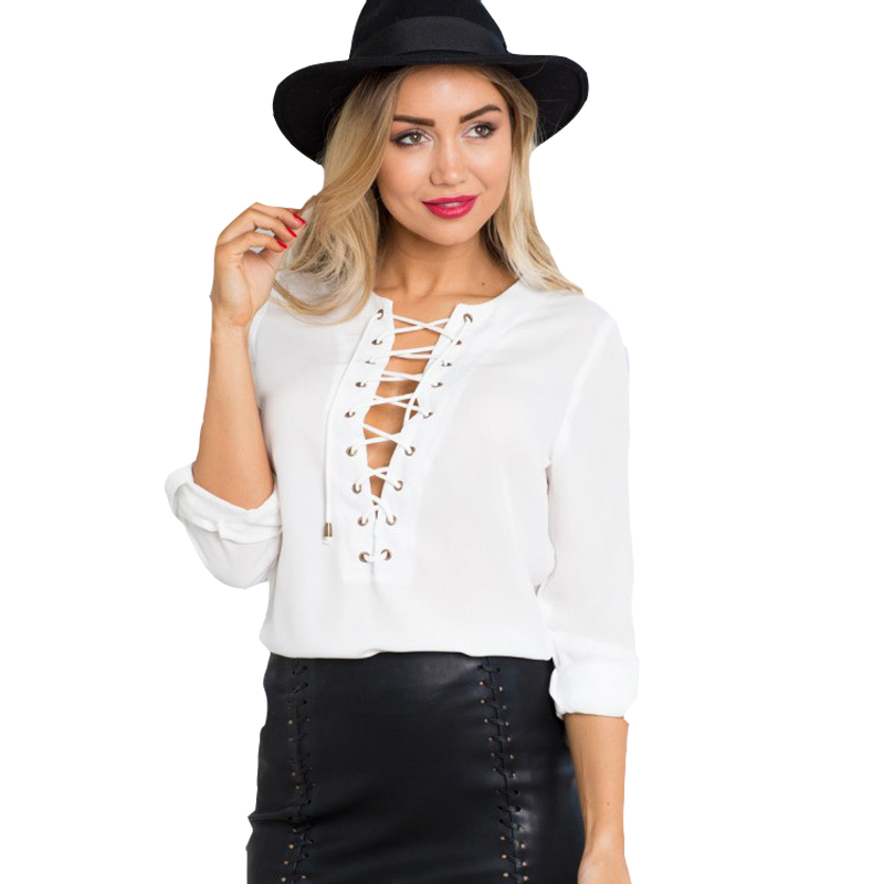 Womens lace up shirts white top chiffon blouses for women long sleeve shirt  WD948-in Blouses   Shirts from Women s Clothing on Aliexpress.com  0254dec5f366