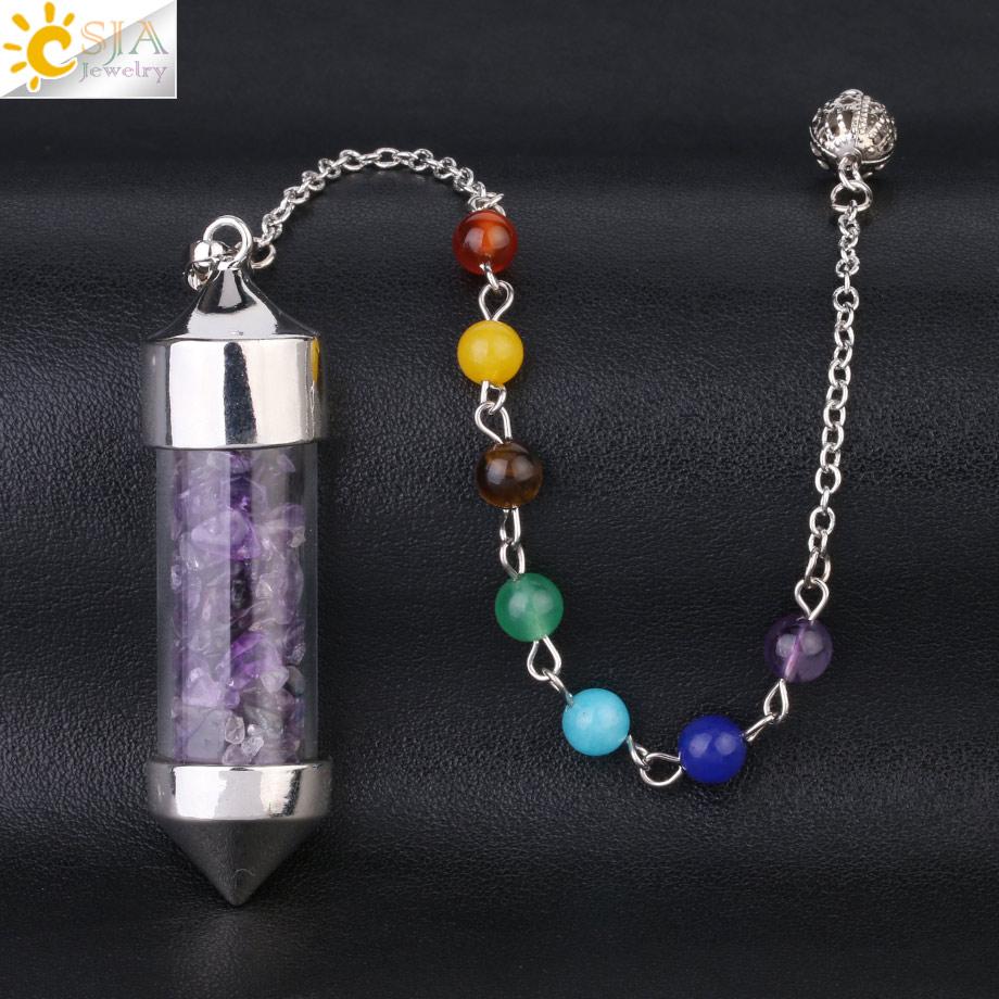 CSJA Новое поступление 7 Чакра Желая бутылка маятник рейки натуральный чип камень кулон ожерелье для женщин мужчин гадания амулет F976 - Окраска металла: Amethyst