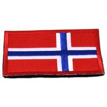 Персональный европейский национальный флаг, вышивка, 3D нашивка, военная нарукавная нашивка, задняя сторона, тактические заплатки, Норвегия, 8*5,1 см