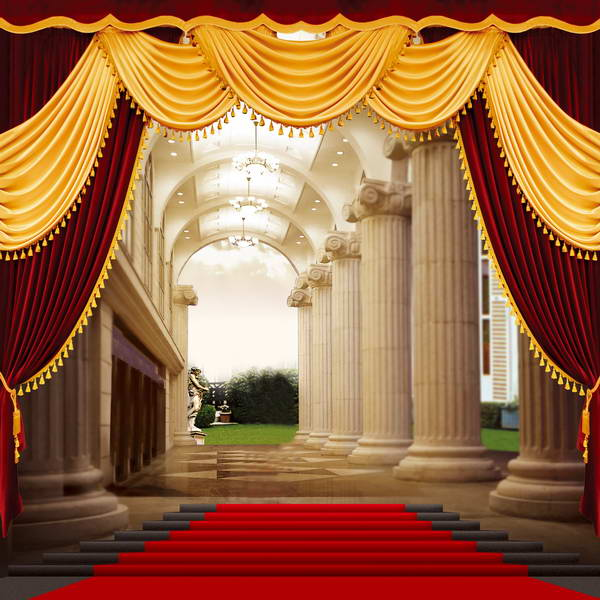 Column Lace Curtains Red Carpet Grand Staircase Photo