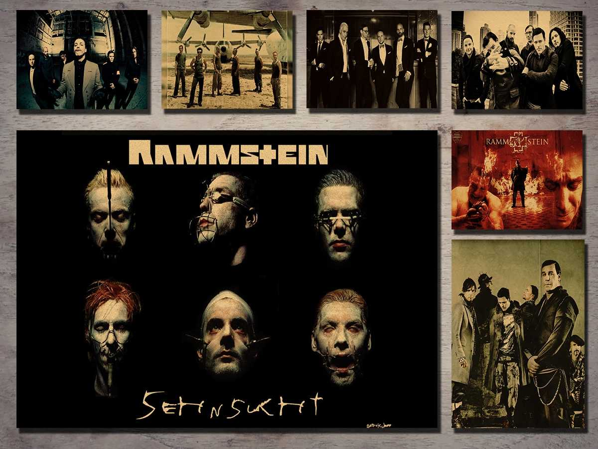 Rammstein German Chariot Industrial Metal Kraft Poster Retro Poster Rock Bar Decorative Painting, Kraft Paper Poster, Wall Stick