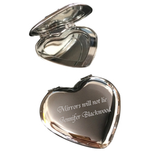 50Pcs Personalized Wedding Gift Souvenirs,Heart Make Up Mirror Favor,Customized Engagement Party Gifts With Bag,Print Name&Date