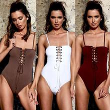 New Sexy ladies one-piece bikini  push-up Swimsuit pad Female Swimwear Solid Color Bathing suit Bodysuit 5