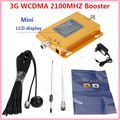 LCD Display !!! New Mini W-CDMA 2100Mhz Signal Booster 3G Repeater WCDMA Signal Amplifier 3G cellular signal booster+ Antennas