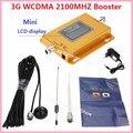 Pantalla LCD! nuevo Mini W-CDMA 2100 Mhz Señal Booster 3G Repetidor Amplificador de Señal WCDMA 3G celular amplificador de señal + Antenas