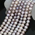 "Hot sell ->@@ New cultured natural freshwater 9-10mm purple round pearl charms beads 15"" -Top quality free shipping"
