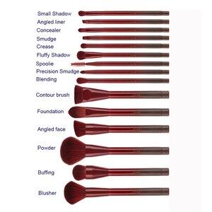 Image 5 - Jessup brushes 15pcs Winered Makeup Brushes Set Powder Foundation Eyeshadow Eyeliner Lip Contour Concealer Smudge Make up Brush