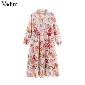 Image 2 - Vadim נשים מתוקה שיפון פרחוני הדפסת טלאים midi שמלה ארוך שרוול להנמיך צווארון נשי מזדמן אופנה vestidos QB848