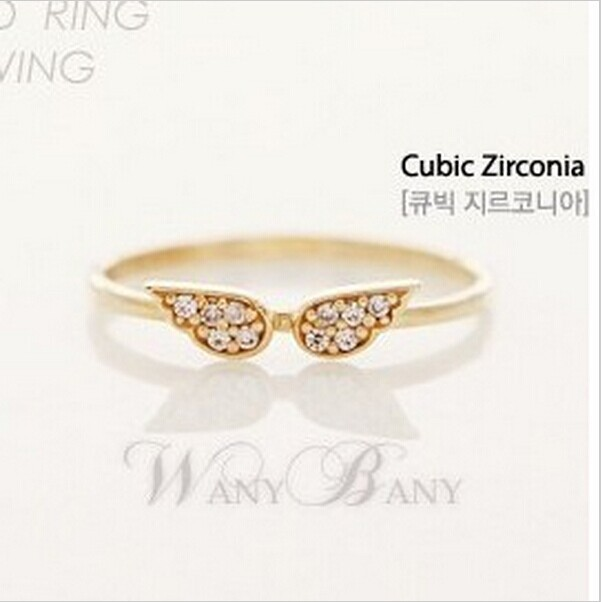 Mini order $1) Simple and elegant and generous fashion tide compact flash imitation ring angel wings CRD83