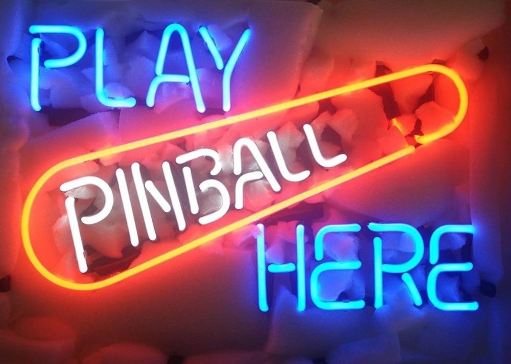 Custom Play Pinball Here Glass Neon Light Sign Beer BarCustom Play Pinball Here Glass Neon Light Sign Beer Bar