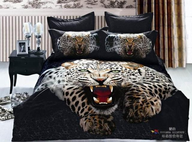Big leopard head black men boys duvet covers comforters bedroom sets ...