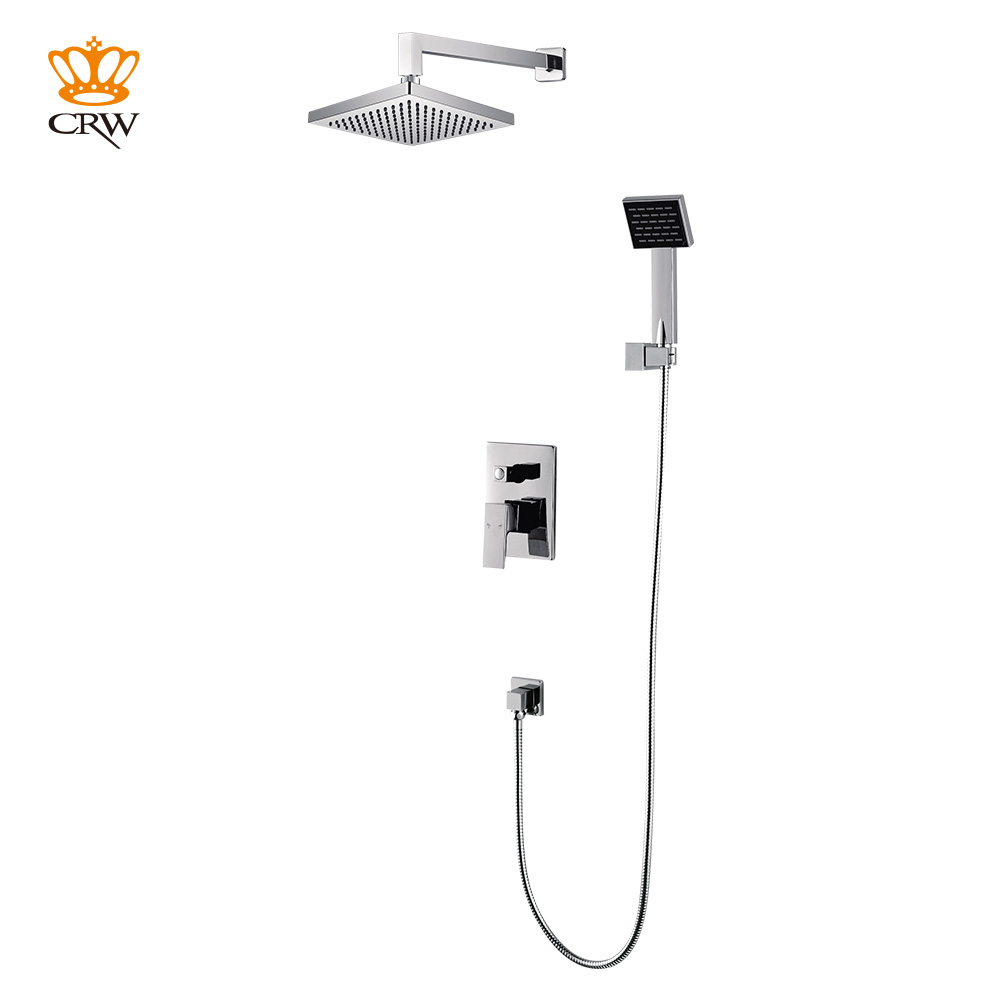 CRW Brass Concealed Bathroom Shower Head Set with Hot&Cold Water Shower Mixer Shower System Square Rainfall Brass Shut off
