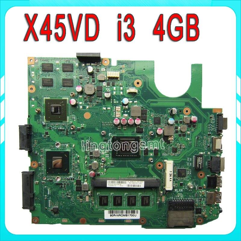 Original X45VD for ASUS font b laptop b font motherboard X45VD REV3 0 i3 4GB RAM