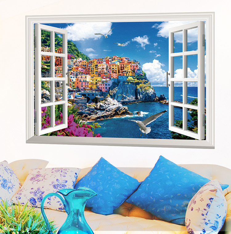 Large Mediterranean Wall Decor : New d mediterranean fake windows large wall stickers home