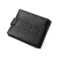 Men's Cowhide Leather Credit Card Holder Crocodile Pattern Wallet Bifold ID Cash Coin Purse Clutch 13.5x10x2.5cm 2019 New mens gentleman black real genuine cowhide leather bifold clutch wallet coin purse pouch id card dollar package indian head
