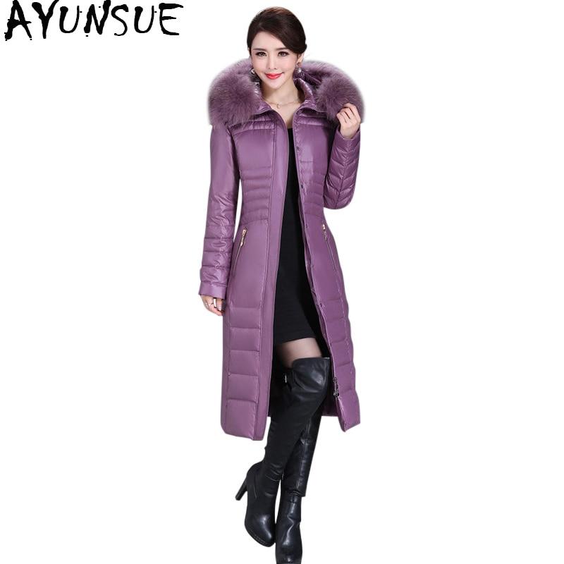 AYUNSUE 2018 Winter Duck Down Jacket Women Long Slim Coat Female Womens Down Jackets With Real Fur Collar Plus Size 5XL WYQ800