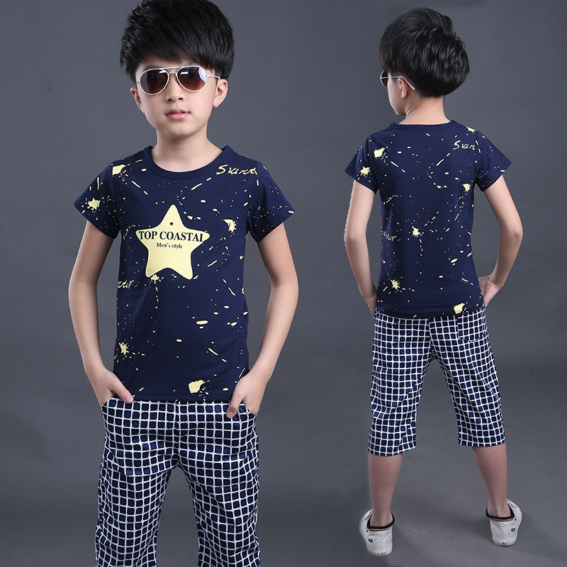 2017 Summer Baby Boys Clothes Kids Clothing Sets Star Toddler Boys short sleeved T-Shirts+Children Shorts for teenagers Costume 017 summer baby boys clothing set kids clothes toddler boy short sleeved t shirts shorts girls clothing sets for kid