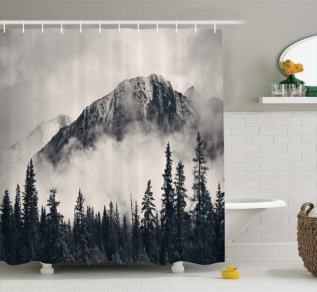 Memory Home National Parks Decor Shower Curtain Mountain Waterproof Polyester Fabric Bathroom Set With