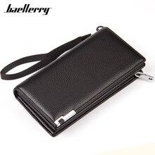 Baellerry Hot New Brand Design zipper Fashion black Real leather men wallets long casual brown purse Clutch carteira masculina