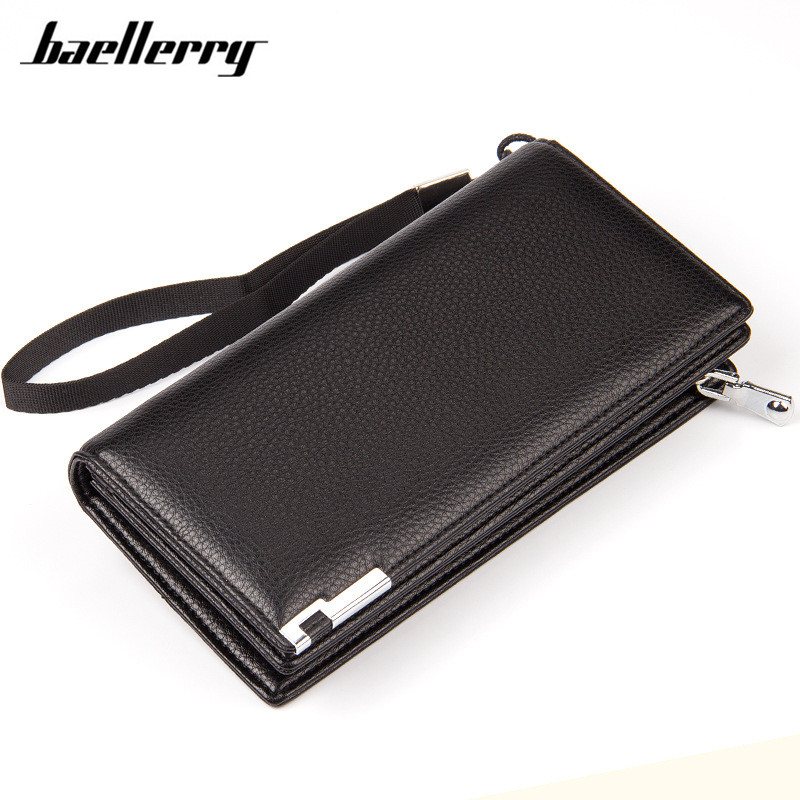 Baellerry Hot New Brand Design zipper Fashion black Real leather men wallets long casual brown purse Clutch carteira masculina european style 2016 new fashion jeans men print flowers slim trousers casual straight brand design skinny pants hot sales 0245