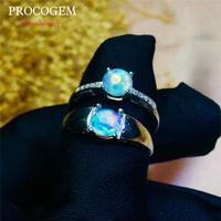 PROCOGEM Fancy Natural Opal Rings for Women Men Lovers' Bride Engagement Rings Gifts 0.6Ct Real Gems 925 Sterling silver #542