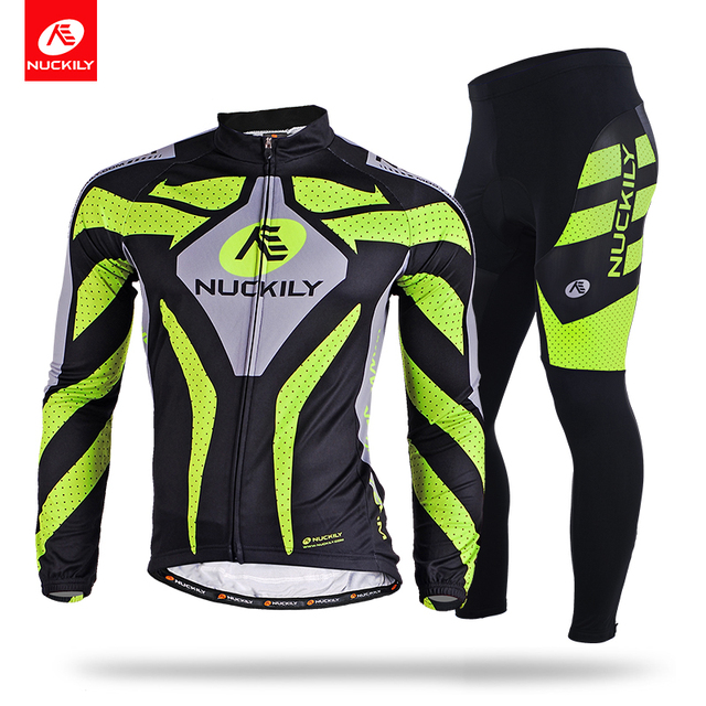 NUCKILY Summer Breathable Bike Apparel Long Sleeve Riding Jersey And Foam  Pad Cycling Pants Set MC003MD003 8ef471c78