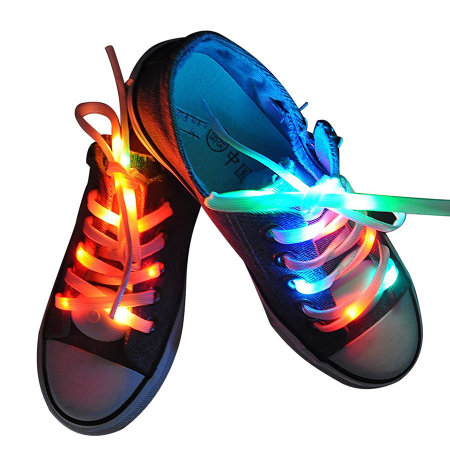 1 Pair 1.2m LED Nylon Shoelaces Strip Light Waterproof Fashionable Man Woman Kids Sport Shoe Laces Novelty Glow Luminous Lights
