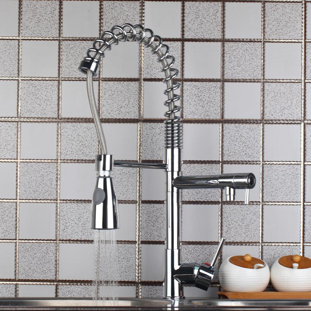 97168D056 3 Deck Mount New Swivel Spout Single Handle Sink Faucet Pull Down Spray Mixer Tap