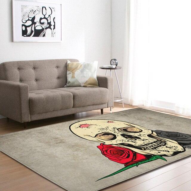 Gedruckt 3D Blume Zucker Schädel Schwarz Flanell Samt Teppiche für  Wohnzimmer Große Bereich Matten Moderne Outdoor Boden Hause decor