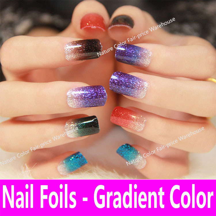 12 long wear wraps Gradient Color Serial Glitter Nail Decals ...
