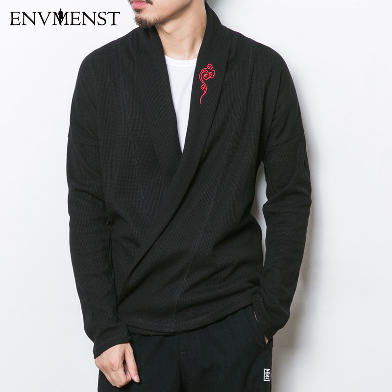 Brand News Spring Autumn Chinese Style Embroidery Men's Sweater Cardigan Embroidery V Neck Belt Cardigan Big Size 3XL