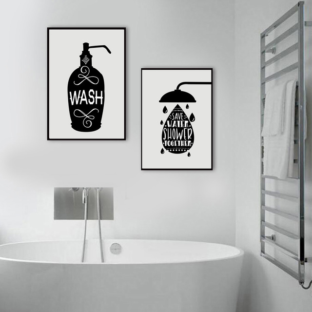 Toilet Paper Toothbrush Hand Soap Quotes Wall Art