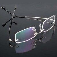 Yeni bellek Titanyum bükme Gözlük çerçeveleri Erkek kadın moda çerçevesiz gözlük reçete optik çerçeve