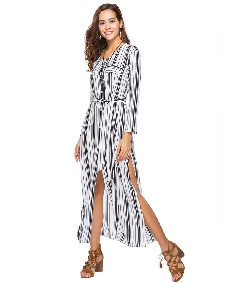 Women Summer Boho Maxi Dresses Large Size Elegant Casual Bohemian Long Stripe Dress Aline Plus Size 2018 Spring 10