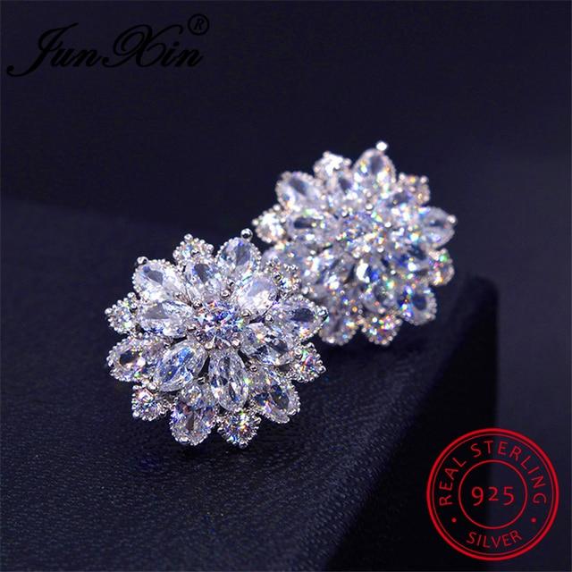 JUNXIN Female Snowflake Stud Earring 100% Real 925 Sterling Silver Jewelry High Quality AAA Zircon Double Earrings For Women
