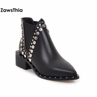 ZawsThia point toe black winter PU leather women shoes square med heel punk studded ankle boots motorcyle riding chelsea boots