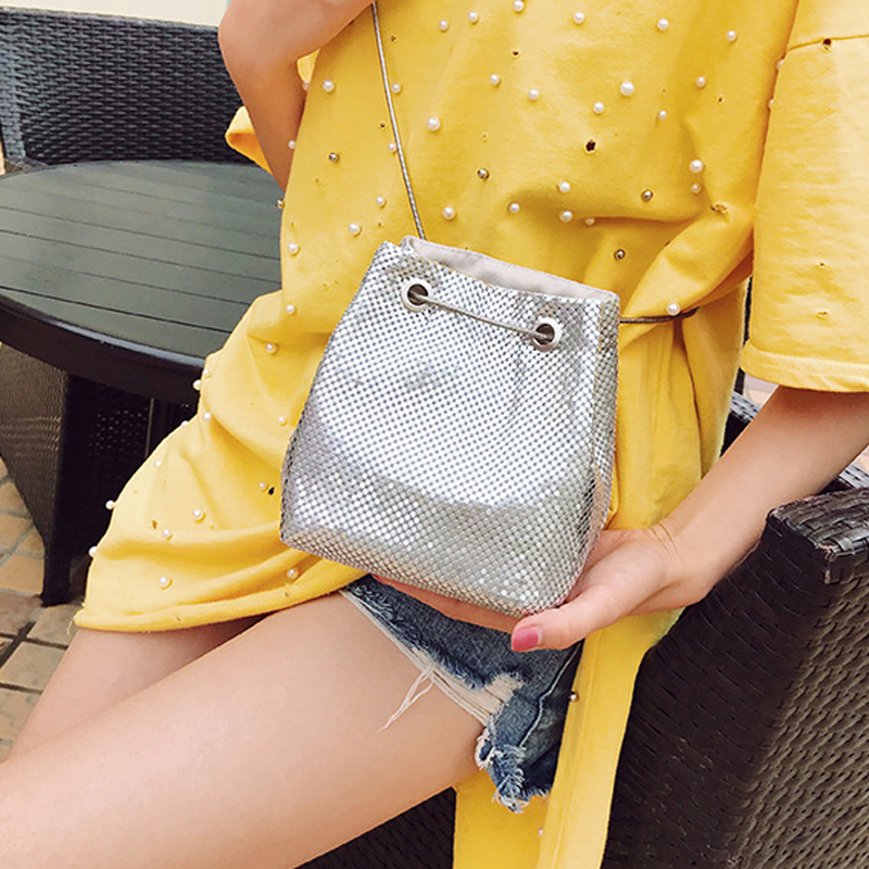 SEKUSA Seuqined Fashion Women Clutches Soft Bucket Shaped Lady Chain Shoulder Handbags Small Evening Clutch Purse все цены
