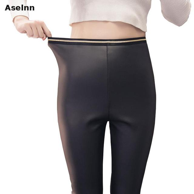 Aselnn 2017 Spring Autunmn Women Matte Leather Pants Elastic Waist Casual Pencil Pants Plus Size Trousers Female 4xl
