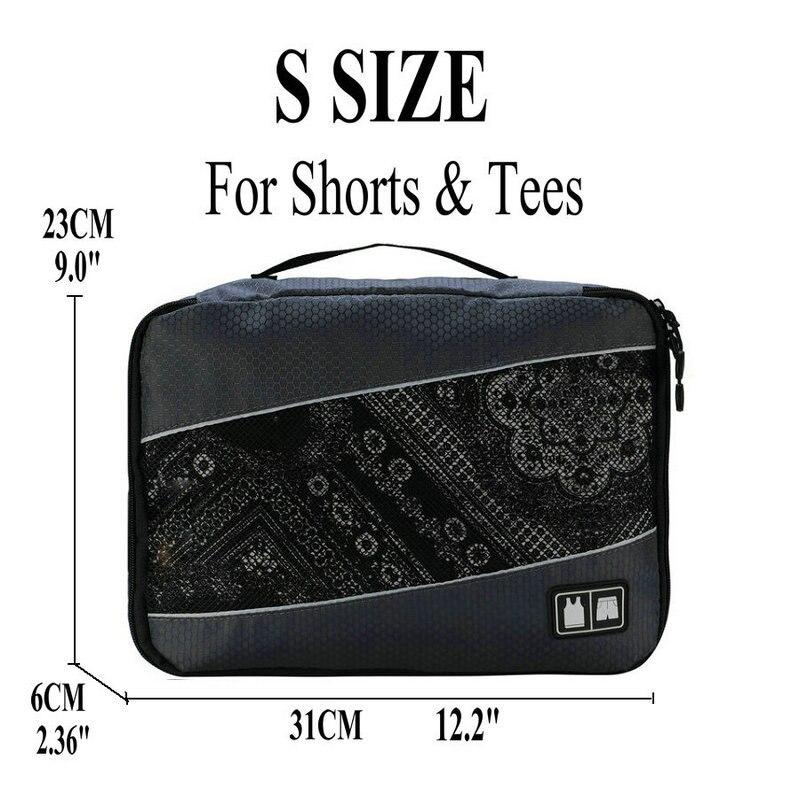 Soperwillton упаковочные кубики, нейлоновая дорожная сумка-Органайзер, Воздухопроницаемая сетчатая дорожная сумка для мужчин и женщин, органайзер для путешествий - Цвет: Gray S