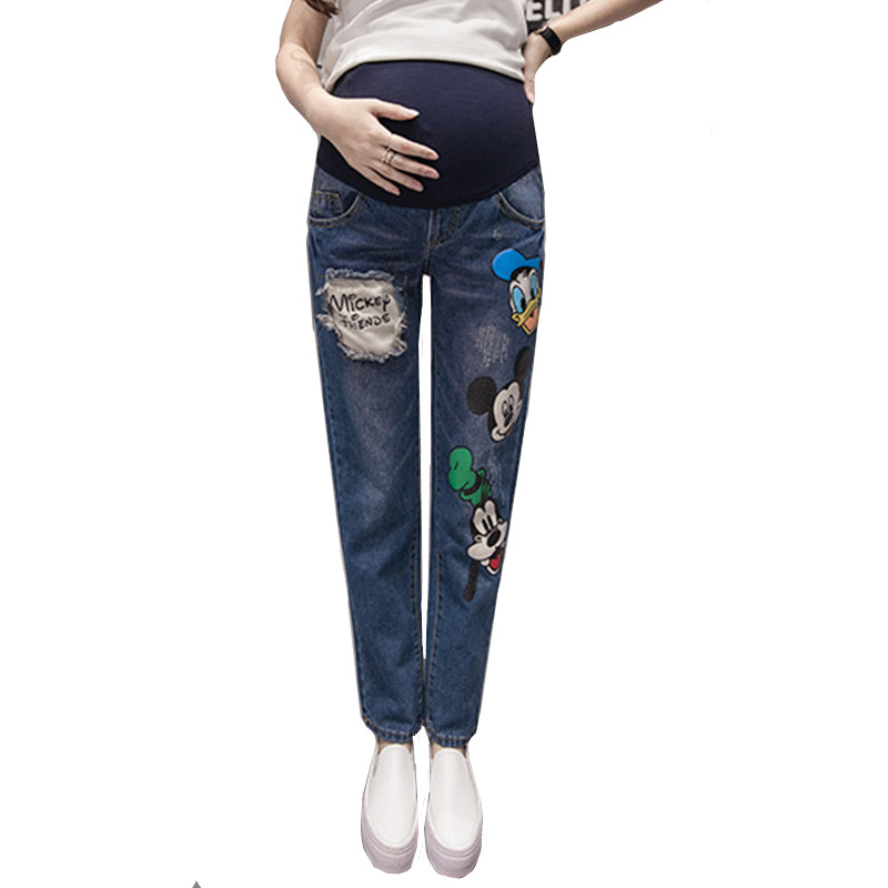 Maternity Denim Trousers Pregnancy Jeans For Pregnant Women Jeans High Waist Pregnancy Clothes Pants Maternity Clothes B0184 vintage women jeans calca feminina 2017 fashion new denim jeans tie dye washed loose zipper fly women jeans wide leg pants woman