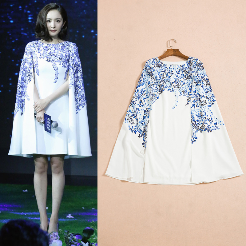 35b7250bee3 Top Quality 2016 Runway Designer Women s Elegant O-neck White Blue Flower  Print Sweet Clock Dress