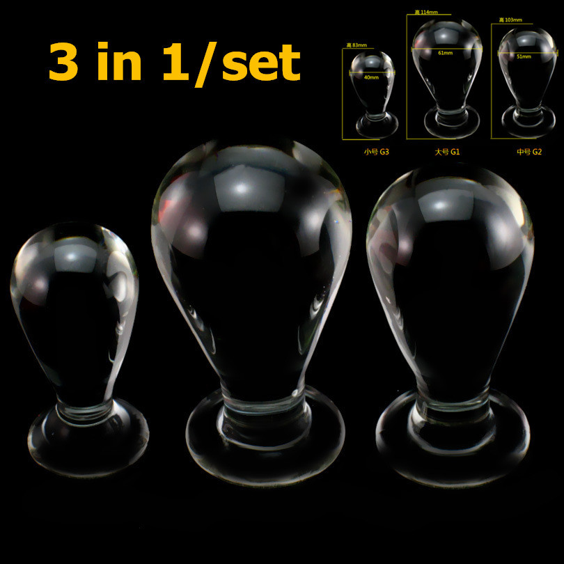 ФОТО 3 in1/set big glass anal plug sex toys for woman men vaginal balls dildo anal beads big glass butt plug anal balls glass plug
