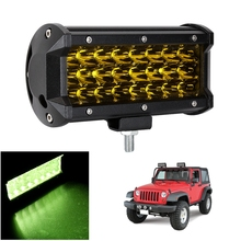 LED Work Light Spot Beam 6.7″ Tri Row 72W 24LED 3000K Yellow Work Light Bar For Off-Road Car Boat Driving Truck Waterproof Lamps