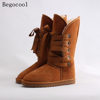 Begocool Kobiet Winter Warm Fur Snow Boots Fashion Bowknot Poślizgu na Połowie Łydki australia Rozruchu Czarny Szary Chestnut Brown Z łuk