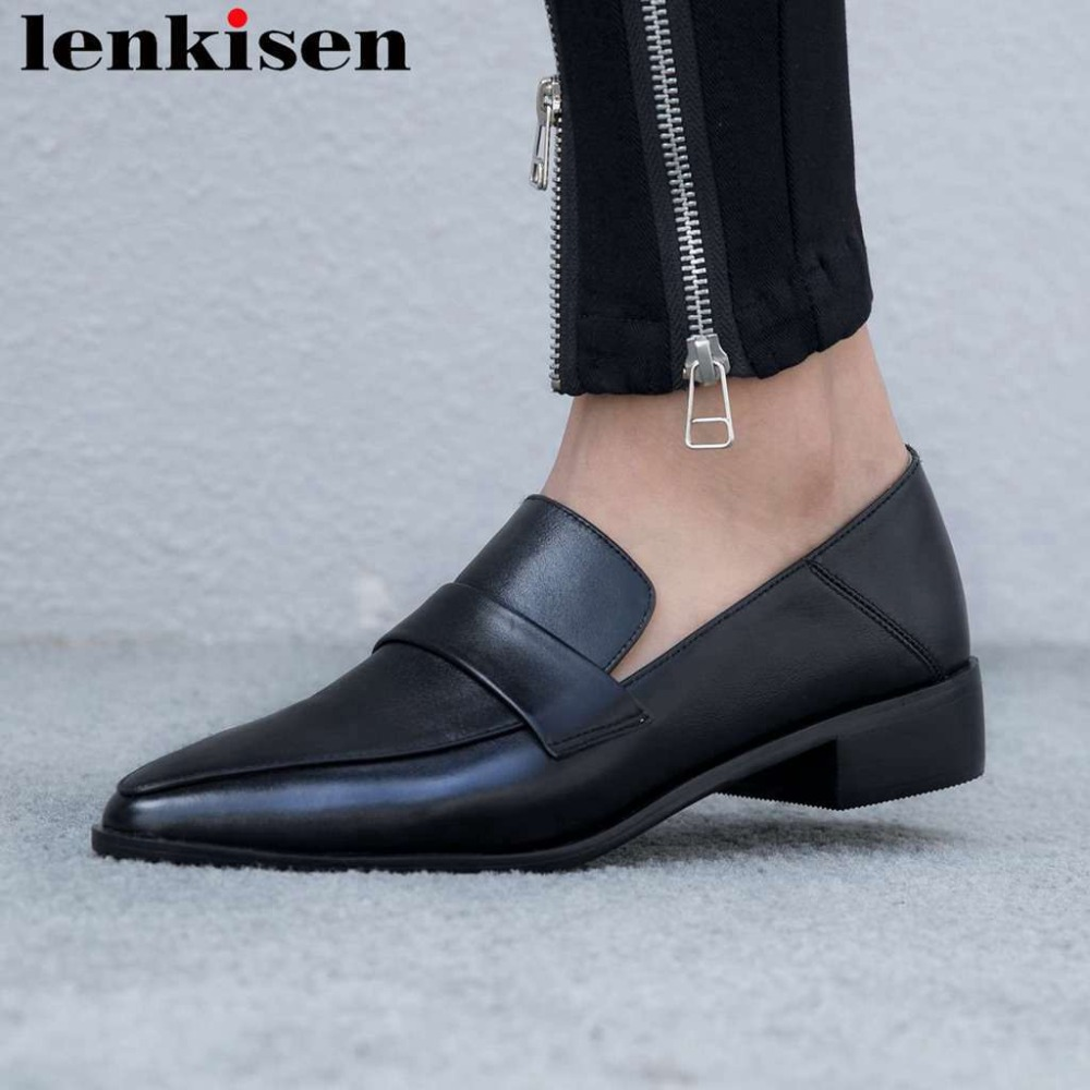 2019 new arrival natural leather round toe chunky low heels slip on simple style daily wear British school vintage pumps L05-in Women's Pumps from Shoes    1