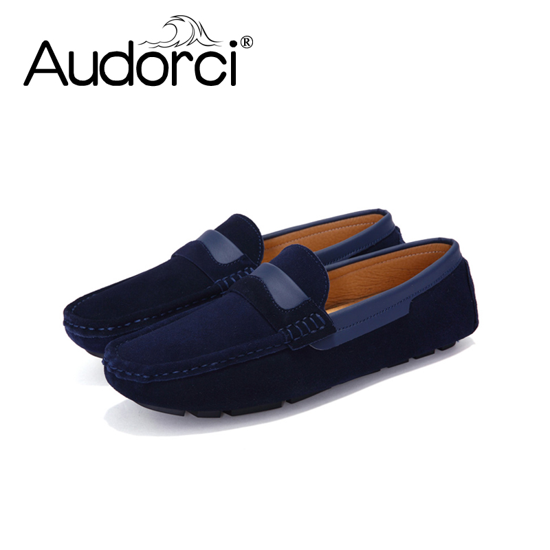 Audorci 2018 Spring Men's Light Flats Shoes Man Casual Boat Peas Shoe  Fashion Suede Leather Driving Loafers Shoes Size 38-44 brand fashion men shoes quality leather loafers eu size 38 44 soft rubber sole man casual driving shoes