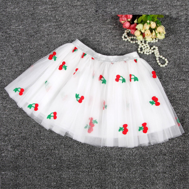 2016 children clothing pettiskirt girls tutu skirt baby tutukids skirts girls tulle skirt kids embroidery cherry princess cloth