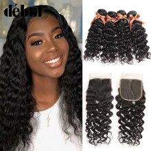 Brazilian Hair Weave Human Hair Bundles With Closure Water Weave 3 Bundles With Closure Wet And Wavy Remy Bundles With Closure
