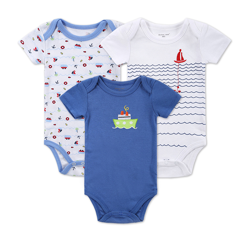 3 PCS/LOT Baby Boy Clothes Newborn Baby Bodysuit Short Sleeved Cotton Baby Wear Toddler Underwear Infant Clothing Baby Outfit